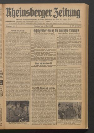 Rheinsberger Zeitung vom 01.05.1942
