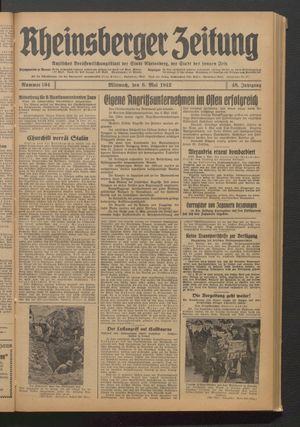 Rheinsberger Zeitung on May 6, 1942