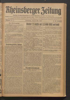 Rheinsberger Zeitung vom 14.05.1942