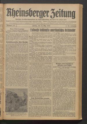 Rheinsberger Zeitung vom 15.05.1942