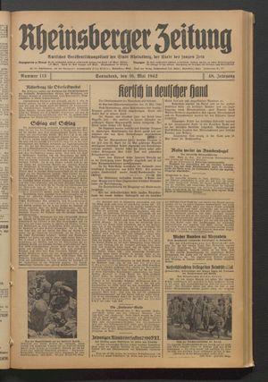 Rheinsberger Zeitung vom 16.05.1942