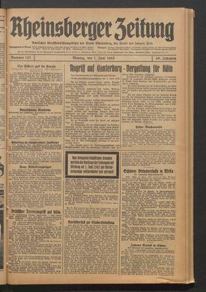Rheinsberger Zeitung vom 01.06.1942