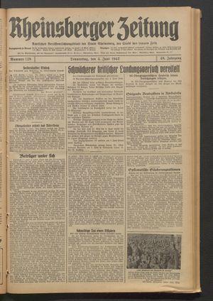 Rheinsberger Zeitung vom 04.06.1942