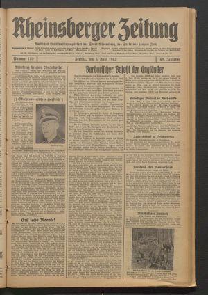 Rheinsberger Zeitung vom 05.06.1942