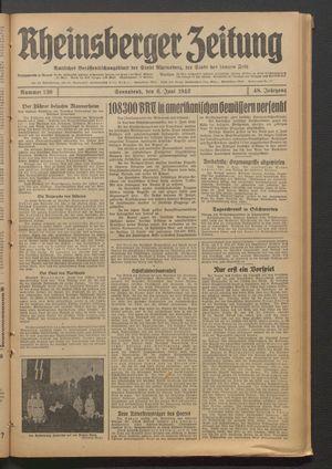 Rheinsberger Zeitung vom 06.06.1942
