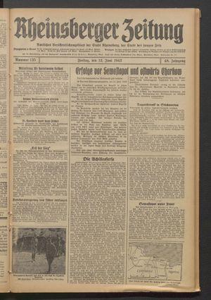 Rheinsberger Zeitung vom 12.06.1942