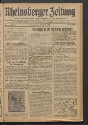 Rheinsberger Zeitung vom 16.06.1942