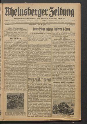Rheinsberger Zeitung vom 18.06.1942