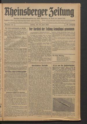 Rheinsberger Zeitung vom 19.06.1942