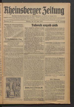 Rheinsberger Zeitung vom 22.06.1942