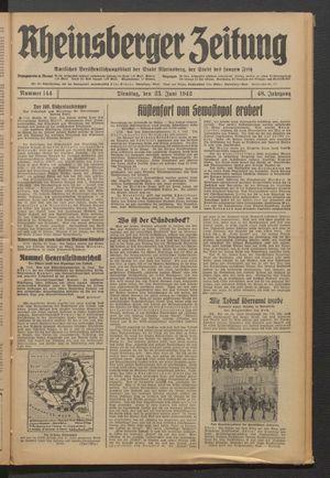 Rheinsberger Zeitung vom 23.06.1942