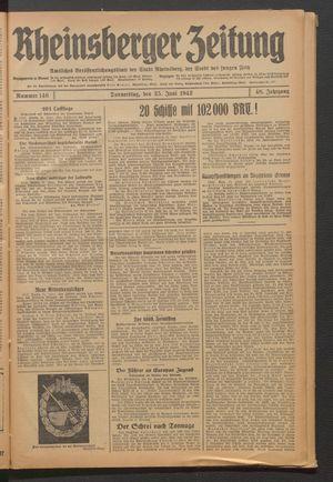 Rheinsberger Zeitung vom 25.06.1942