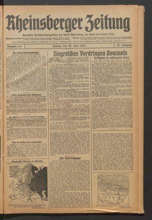 Rheinsberger Zeitung vom 26.06.1942