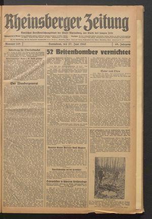 Rheinsberger Zeitung vom 27.06.1942