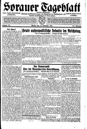 Sorauer Tageblatt vom 19.11.1928