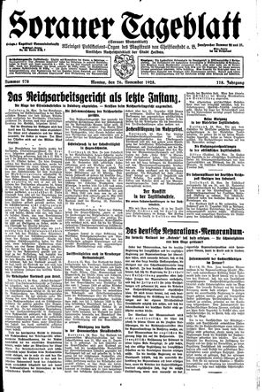 Sorauer Tageblatt vom 26.11.1928