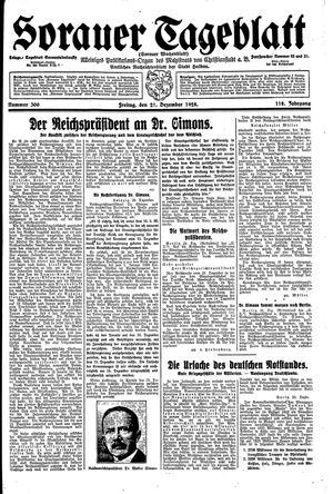 Sorauer Tageblatt vom 21.12.1928