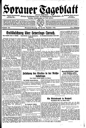 Sorauer Tageblatt vom 22.12.1928