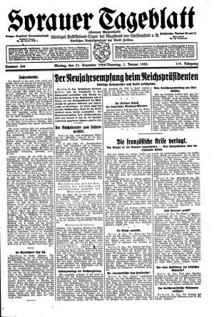 Sorauer Tageblatt vom 31.12.1928
