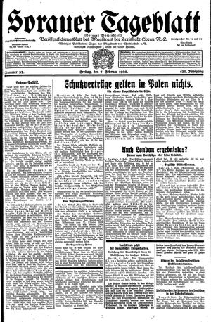 Sorauer Tageblatt vom 07.02.1930
