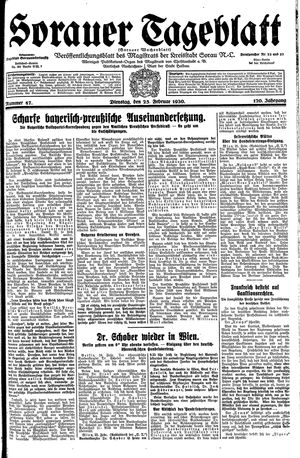 Sorauer Tageblatt vom 25.02.1930