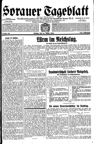 Sorauer Tageblatt vom 14.03.1930