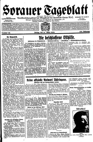 Sorauer Tageblatt vom 21.03.1930