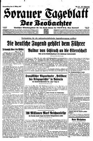 Sorauer Tageblatt vom 11.03.1937