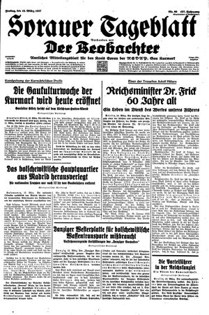 Sorauer Tageblatt vom 12.03.1937