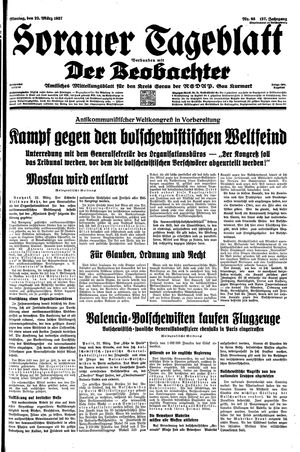 Sorauer Tageblatt vom 22.03.1937