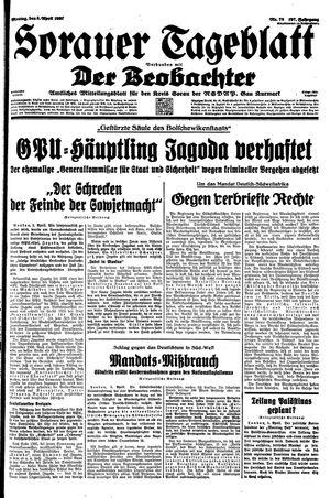 Sorauer Tageblatt vom 05.04.1937
