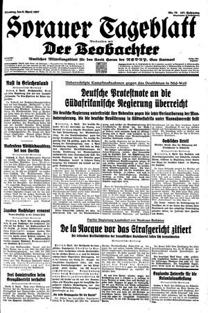 Sorauer Tageblatt vom 06.04.1937