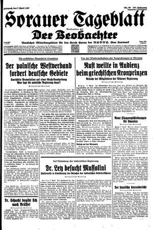 Sorauer Tageblatt vom 07.04.1937