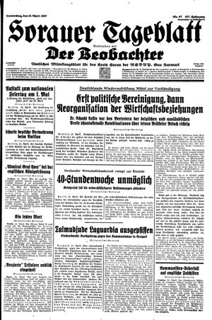 Sorauer Tageblatt vom 15.04.1937