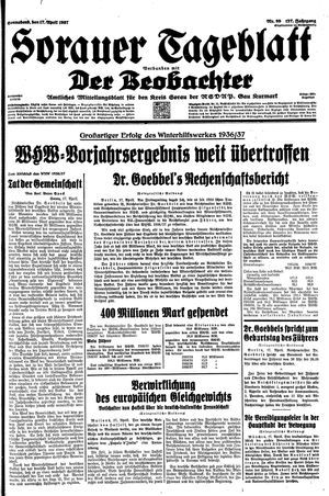 Sorauer Tageblatt vom 17.04.1937