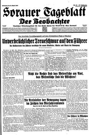Sorauer Tageblatt vom 21.04.1937