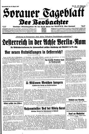 Sorauer Tageblatt vom 24.04.1937