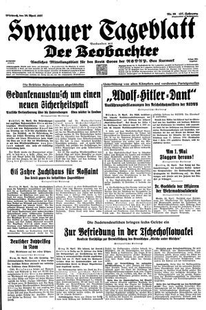 Sorauer Tageblatt vom 28.04.1937