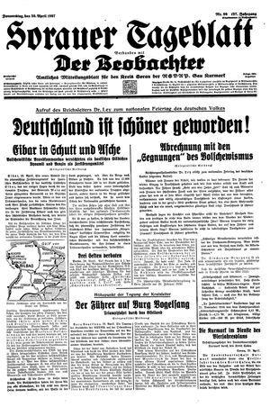 Sorauer Tageblatt vom 29.04.1937