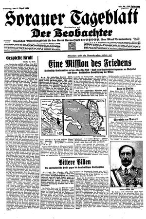 Sorauer Tageblatt vom 11.04.1939