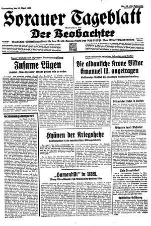 Sorauer Tageblatt vom 13.04.1939