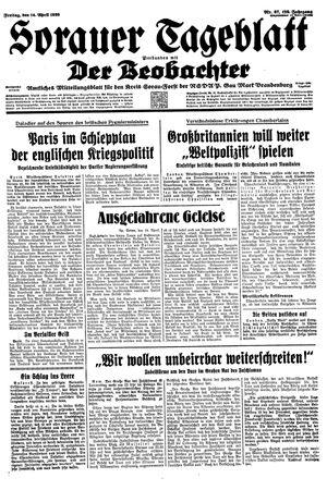 Sorauer Tageblatt vom 14.04.1939