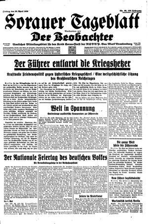 Sorauer Tageblatt vom 28.04.1939