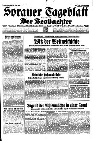 Sorauer Tageblatt vom 25.05.1939