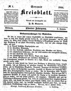 Sorauer Kreisblatt vom 03.01.1844
