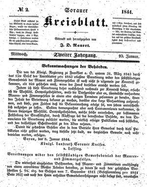 Sorauer Kreisblatt vom 10.01.1844