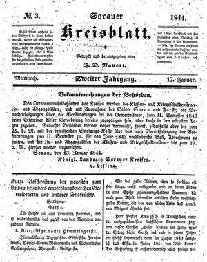 Sorauer Kreisblatt vom 17.01.1844