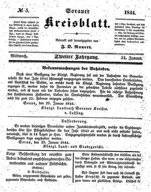 Sorauer Kreisblatt vom 31.01.1844