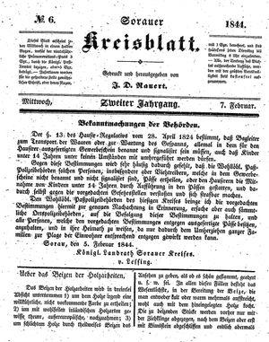 Sorauer Kreisblatt vom 07.02.1844