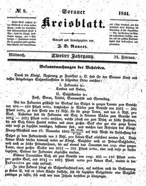 Sorauer Kreisblatt vom 21.02.1844